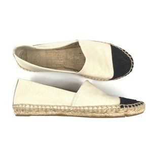 Tory Burch Canvas Slip On Espadrille Flats Shoes